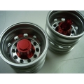 1/14 RC car option CNC RED metal Rear wheels for one axle HEX  cap  *