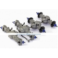 1/14 rc car truck parts for Tamiya 8X8 all Metal steering Axle #1 + #2 + #3 + #4  w/ diff lock GREY