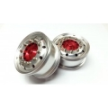 Reality Truck Alum. Wide Wheels w/red center / chrome nut (pair)
