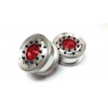 Reality Truck Alum. Wide Wheels w/red center / black nut (pair)*