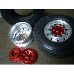 front wheel ( hex version) for tamiya 1/14 scania man actros etc with rubber tyre