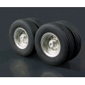 52mm ALUM LESU METAL small 60mm Wheels w/rubber tyres  for 1/14  14.50 trailer bed